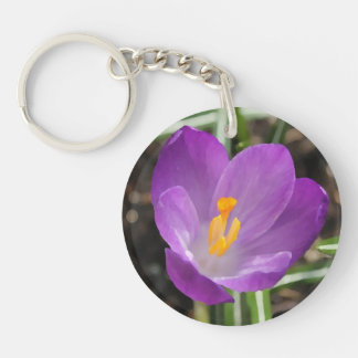 Purple Flower Oil Painting Acrylic Key Chain