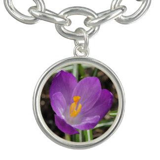 Purple Flower Oil Painting Charm Bracelets