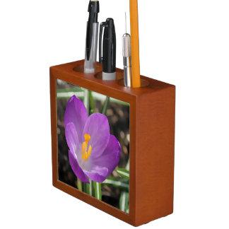 Purple Flower Oil Painting Desk Organizer