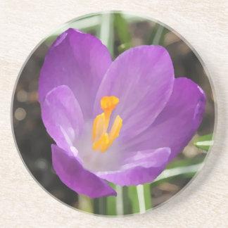 Purple Flower Oil Painting Drink Coaster