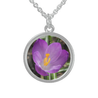 Purple Flower Oil Painting Sterling Silver Necklace
