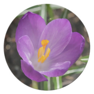 Purple Flower Oil Painting Party Plate