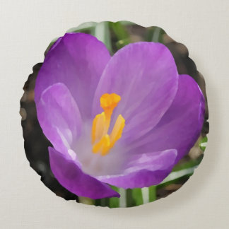 Purple Flower Oil Painting Round Pillow