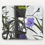 Purple flower on Fence, Spring Mousepads