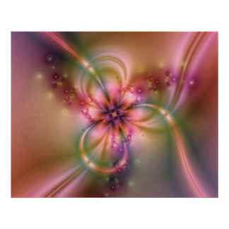 Purple Flower On Gold Poster
