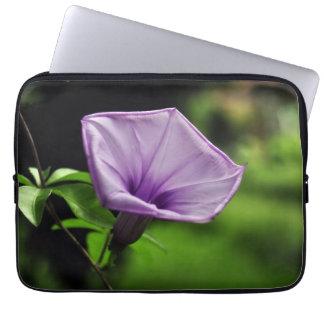 Purple Flower on Green Background Computer Sleeve