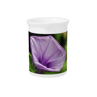 Purple Flower on Green Background Drink Pitchers
