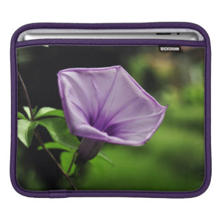 Purple Flower on Green Background Sleeve For iPads
