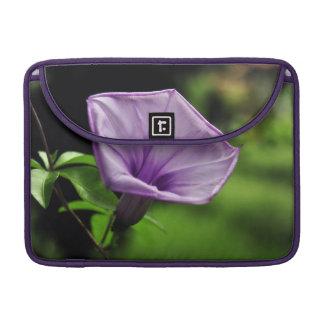 Purple Flower on Green Background Sleeve For MacBook Pro