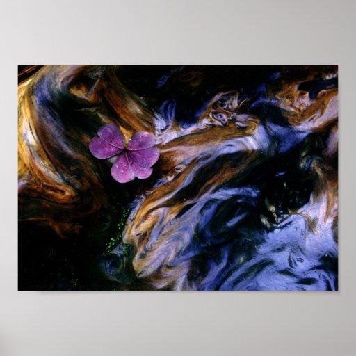 Purple Flower on Redwood Burl Poster