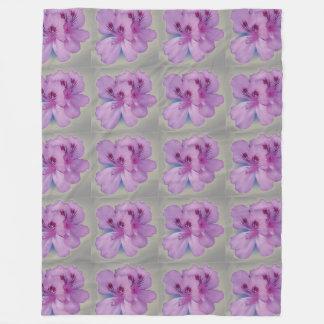 Purple Flower on Silver Gray Fleece Blanket