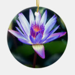 Purple Flower Double-Sided Ceramic Round Christmas Ornament