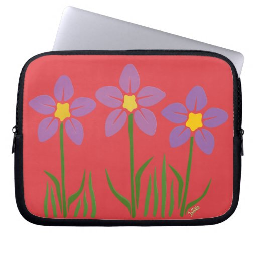 Purple Flower Patch Laptop Computer Sleeves