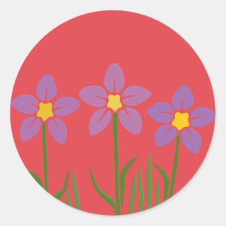 Purple Flower Patch Classic Round Sticker