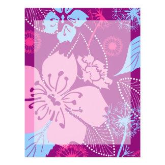 """Purple Flower Pattern 8.5"""" x 11""""Letterhead Letterhead"""