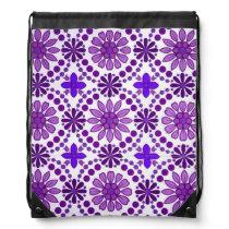 Purple flower pattern drawstring backpack