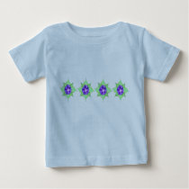 Purple flower pattern on blue baby T-Shirt