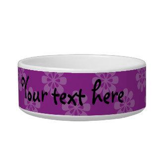 Purple flower pattern pet food bowls