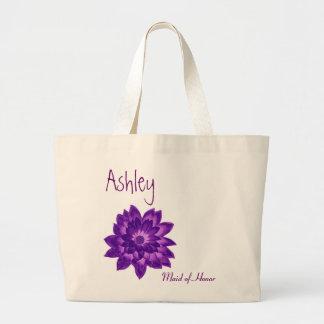 Purple Flower Personalized Maid of Honor Jumbo Tote Bag