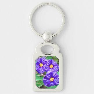 Purple Flower Photo Keychain