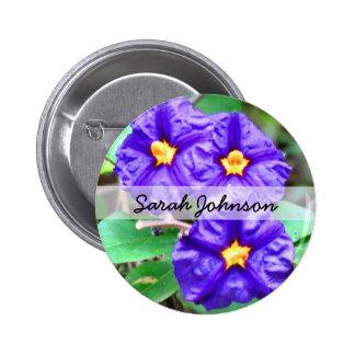Purple Flower Photograph Pinback Button