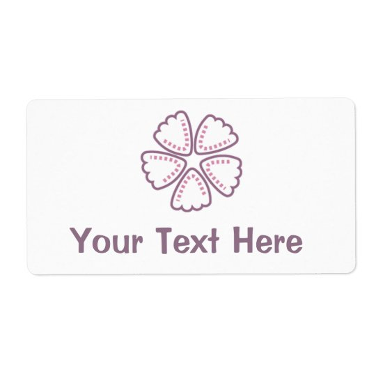 Purple Flower Pink Dots 1 Label