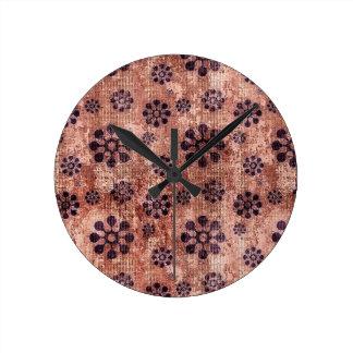 Purple Flower Pinwheel Pattern Round Clocks