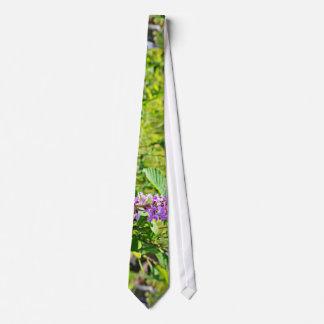 Purple flower plant neck tie