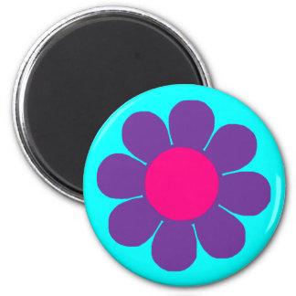Purple Flower Power 2 Inch Round Magnet