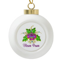 Purple Flower Power Ceramic Ball Christmas Ornament