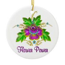 Purple Flower Power Ceramic Ornament