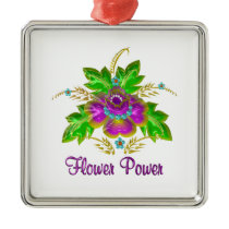 Purple Flower Power Metal Ornament
