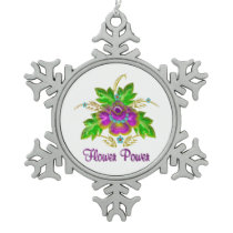 Purple Flower Power Snowflake Pewter Christmas Ornament