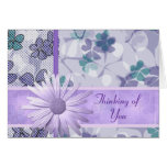 Purple flower print Thinking of you Greeting Card