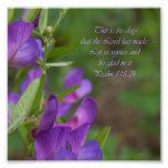 Purple Flower Psalm 118:24 Bible Verse Photo Print