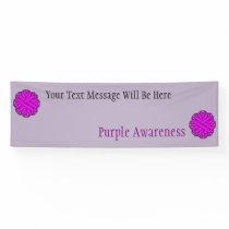 Purple Flower Ribbon Banner
