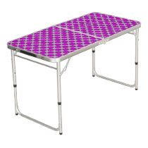 Purple Flower Ribbon Beer Pong Table