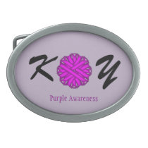 Purple Flower Ribbon Belt Buckle