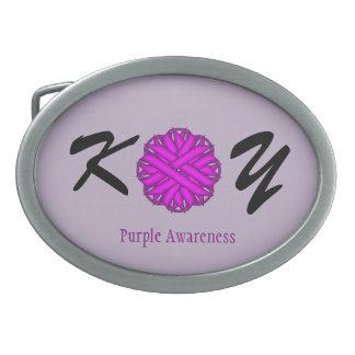Purple Flower Ribbon Belt Buckle
