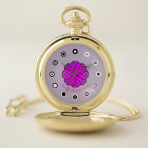 Purple Flower Ribbon (Bf) by K Yoncich Pocket Watch
