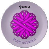 Purple Flower Ribbon by Kenneth Yoncich Dinner Plate