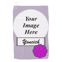 Purple Flower Ribbon by Kenneth Yoncich Golf Towel