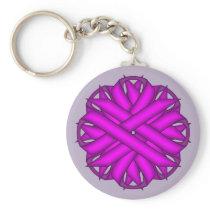 Purple Flower Ribbon by Kenneth Yoncich Keychain