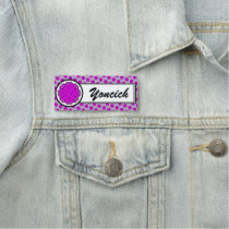 Purple Flower Ribbon by Kenneth Yoncich Name Tag