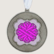 Purple Flower Ribbon by Kenneth Yoncich Pewter Ornament