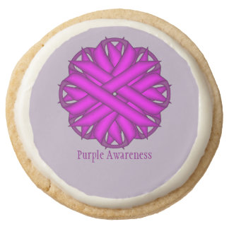 Purple Flower Ribbon by Kenneth Yoncich Round Shortbread Cookie