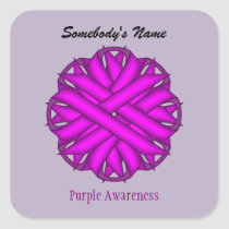 Purple Flower Ribbon by Kenneth Yoncich Square Sticker
