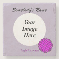 Purple Flower Ribbon by Kenneth Yoncich Stone Coaster