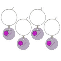 Purple Flower Ribbon by Kenneth Yoncich Wine Charm