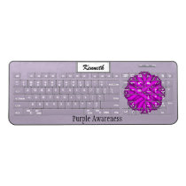 Purple Flower Ribbon by Kenneth Yoncich Wireless Keyboard
